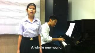 """Amazing girl ! """"A whole new world"""" covered Napat with Pattanan (Fa)"""