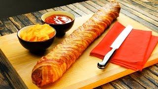 Um sanduíche para as grandes fomes: Baguete de salame envolta em bacon