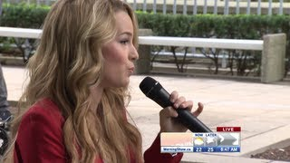 """Bridgit Mendler performs """"Ready or Not"""" live on The Morning Show [Acoustic]"""