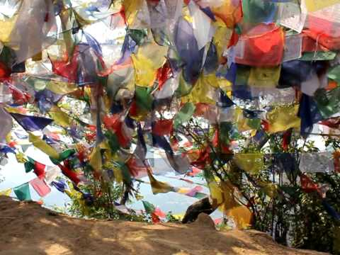 Magic dance of buddhist flags in Nepal.