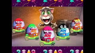 Talking Tom Cat, Cat Tom and eggs surprise kinder joy, Videos Cartoon Funny 2019
