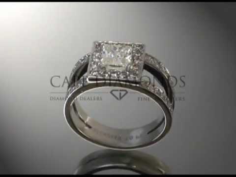 Split band,cushion diamond,complex stones on band,engagement ring