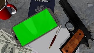 Smartphone green screen with money and gun for agent movie