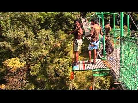 Jojo does bungy jumping at River Bhote Khosi Nepal.