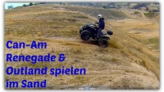 ATV/Quad Can-Am Renegade & Outlander playing in the sand