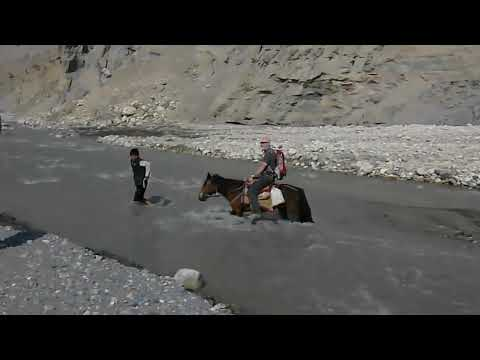 Crossing of Kali Gandhaki in Mustang, Nepal