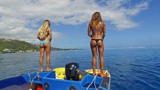 KALOEA Surfer Girls - Tubing in Tahiti (HD Drone )... Funny Wipeouts...