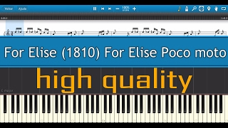 Beethoven - For Elise (1810) For Elise Poco moto - Tutorial piano