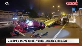 Gebze'de otomobil takla attı!