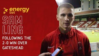 REACTION: Defender Sam Ling reacts to the 2-0 win over Gateshead