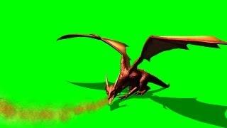 dragon spits fire - green screen
