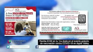 Recibe $100 en tu 1ra dosis en el evento gratuito de vacunación contra COVID-19 en Apple Valley