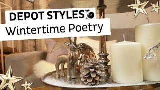 DEPOT Styles | winterlich dekorierte Etagere | Einfache Winterdeko für Zuhause