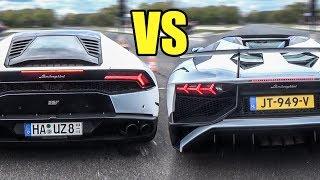 Lamborghini Huracan LP610-4 vs Aventador SV LP750-4 Roadster - Launch Control & Accelerations