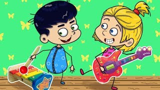 Children play music on pots and pans - Moo and Noo children's cartoon