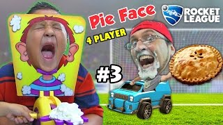 PIE FACE CHALLENGE GAME w/ Let's Play ROCKET LEAGUE Part 3:  BOTS!  (FGTEEV Family Fun)
