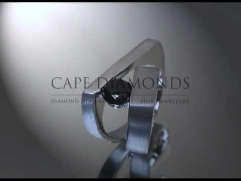 Split band ring,black diamond,platinum,engagement ring