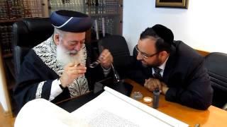 Letter of the Sefer Torah by Chief Rabbi of Israel, Rabbi Schlomo Moshe Amar to Dallas, Tx