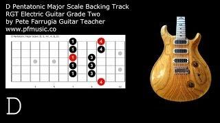 Guitar Backing Track D Pentatonic Major Scale - Grade Two