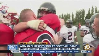 Wow Video - US Airman Returns Home Early; Surprises Son by Dressing Up As Opposing Football Player During Game