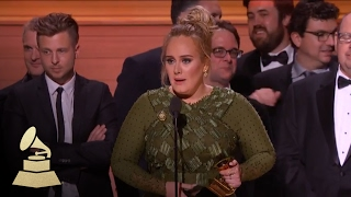 Adele Wins Album Of The Year | Acceptance Speech | 59th GRAMMYs
