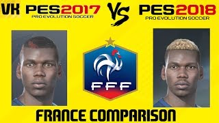 PES 2017 vs PES 2018 France Player Faces Comparison