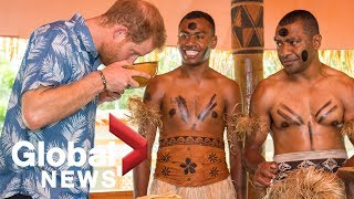 Prince Harry visits forest reserve in Fiji, observes traditional handicraft making