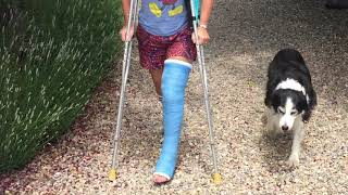 Crutching in a Long Leg Cast - While on Vacation in the Mountains