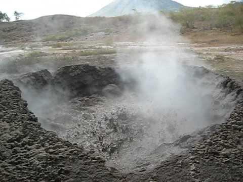 Boiling mudpools opposite Santa Clara Volcano Nicaragua.AVI