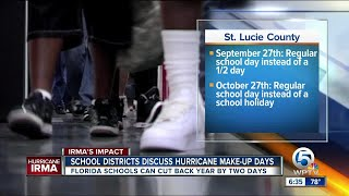 Florida schools can cut back year by 2 days due to Hurricane Irma