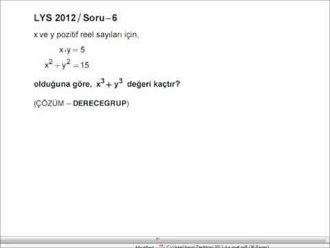 2012 LYS Matematik Soru ve Cevapları (1-9) Derece Grup Dershanesi