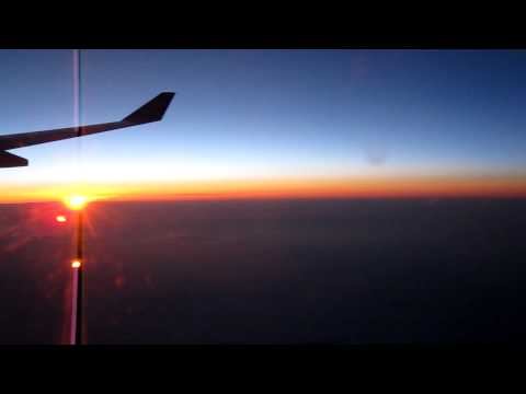 Sunrise over Southern France as viewed from flight SA236 enroute from Johannesburg to London