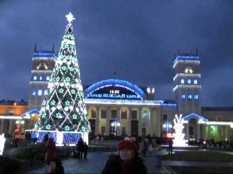 Christmas trees in the South Station and the Liberty Square.Kharkov