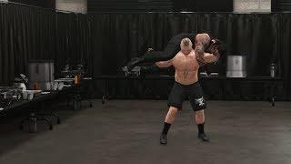 WWE 2K18 Catering Fight - Brock Lesnar buries Roman Reigns (WWE 2K18 Squash Match)