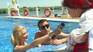 Anisa Sandulache, Valentin Sanfira si Saveta Bogdan la piscina pentru Romania TV