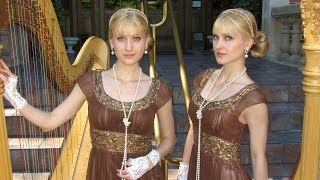 DOWNTON ABBEY Theme - Harp Twins - Camille and Kennerly