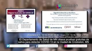 MDH ofrece pruebas gratuitas de Saliva para detectar COVID-19 en la Ciudad de Crookston, MN