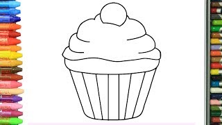 Pagina di colorazione cupcake | Come disegnare e colora per i bambini