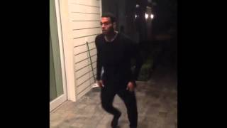 Tyga challenging Chris Brown to do two front flips