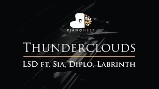 LSD - Thunderclouds ft. Sia, Diplo, Labrinth - Piano Karaoke / Sing Along Cover with Lyrics
