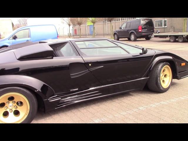 1987 Lamborghini Countach 5000 QV start up at Car Cave in Hasselt