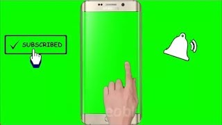 (No Copyright)Green screen intro templates with bell icon subscribe button Hand, Mobile