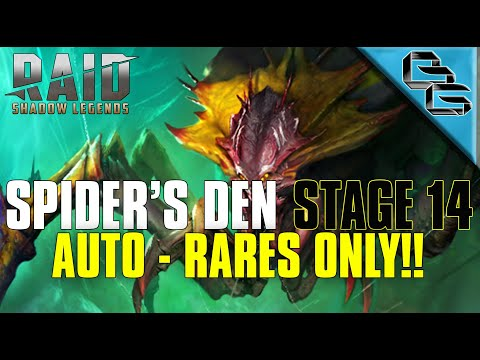 RAID: Shadow Legends | Spider's Den Stage 14 on Auto | NO EPIC or LEGENDARY!! | F2P