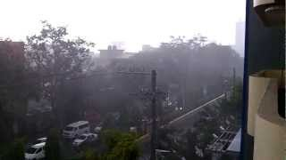 Heavy rain, thunder and lightning in Cebu City by Capitol area, with Big Bang ending.