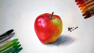 Drawing an Apple | First Time Using Oil Pastels In My Life
