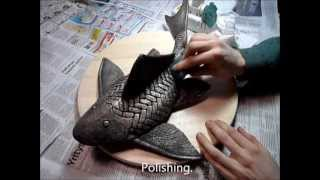 Making bronze catfish sculpture