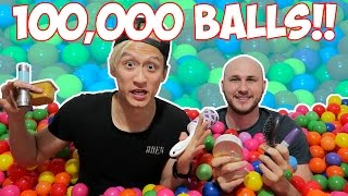 BALL PIT CHALLENGE FT. CRAZY RUSSIAN HACKER!! (100,000 BALLS)