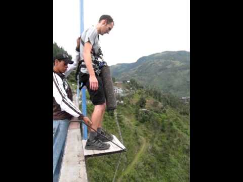 Jumping off the San Francisco Bridge in Baños, Ecuador