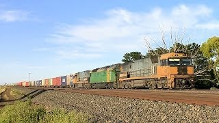 Adelaide To Melbourne Freight Train In Country Victoria - PoathTV Australian Railways