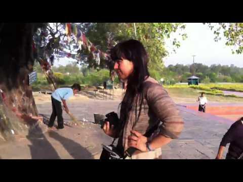 Bavita taking a video of the Sacred Gardens, Lumbini